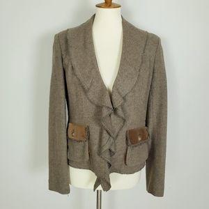 Cabi Ruffled Collor Wool Blend Blazer Jacket Size4